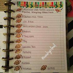 It's about that time y'all!! I'm so ready for some football! I took a to-do list from the back of my planner and made it into our football schedule.
