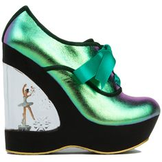 Irregular Choice Glissade Hologram Leather Ballerina Wedge Heels ($171) ❤ liked on Polyvore featuring shoes, heels, platform, wedges, hologram leather, ballet shoes, wedge shoes, star shoes, leather upper shoes and irregular choice shoes