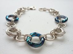 Sterling Silver Mobius Chainmaille Bracelet by OldeTowneJewelry, $106.00