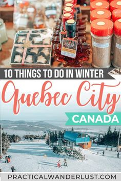The ultimate guide to Quebec City things to do in the winter from maple syrup taffy to snowboarding to toboggan rides to Christmas Markets to thermal spas! Here's everything you need to know to plan your Quebec City winter trip. Alberta Canada, Travel Guides, Travel Tips, Travel Destinations, Canadian Travel, Canadian Food, Canadian Rockies, Canada Vancouver, Stuff To Do