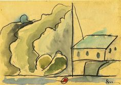 Harbor with Red Buoy by Arthur Dove; 1932; watercolor, charcoal and pencil on paper