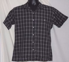 Orvis Vintage Black Cotton Short Sleeve Button Front Blouse Size 12 #Orvis #Blouse