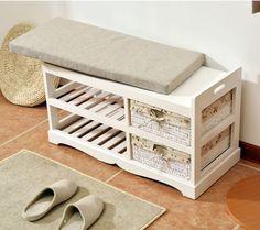 Деревянный шкаф для обуви Организатор хранения и прихожей скамейка Шкафы для гостиной для обуви домой полка подъезде Подставка для хранения Османской