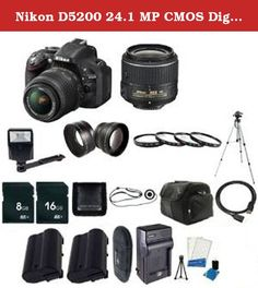 Nikon D5200 24.1 MP CMOS Digital SLR with 18-55mm f/3.5-5.6 AF-S DX VR Lens (Black) + EN-EL14 Replacement Li-on Battery. Nikon D5200 Digital SLR Camera Includes the following in the box: MH-24 Quick Charger for EN-EL14 Battery, DK-5 Eyepiece Shield (Replacement), DK-20 Rubber Eyecup, UC-E17 USB Cable, EG-CP16 Nikon Audio/Video Cable, AN-DC3 Camera Strap (Black), BF-1B Body Cap, BS-1 Hot-Shoe Cover Bonus Bundle Items Include: 1- Nikon D5200 24.1 MP CMOS Digital SLR with 18-55mm f/3.5-5.6…