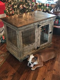 Handcrafted dog kennel and dog crate. Custom dog kennel. Wooden dog kennel. Wire crate. Den for dog. Www.kennelandcrate.com #dogawesomeideas #DogCrate