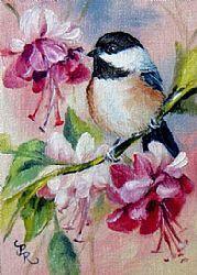Art: Fuschias Chickadee by Artist Paulie Rollins
