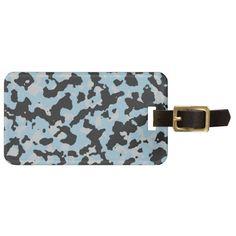 PANTONE Aquamarine & Glacier Gray Camouflage Luggage Tag