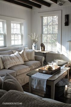 After Christmas Decorating Idea: winter living room, with linens and neutral colors.