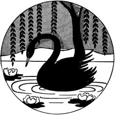 Vintage Black Swan Image - Silhouette! - The Graphics Fairy