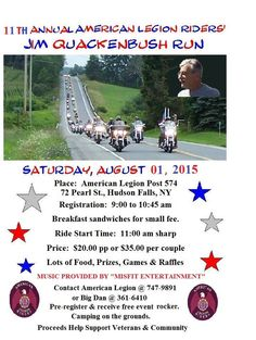 Hudson Falls, NY - Aug. 1, 2015: 11th Annual ALR Jim Quackenbush Motorccyle Run. Proceeds benefit Veterans and the Community.