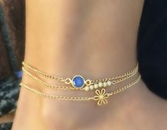 Daisy Wrap Anklet. Anklet layering. Dainty Gold Anklets