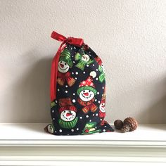 snowman christmas bag cloth gift bag large bag easy gift wrap upcycled 16x10 christmas decor family gifts drawstring bag zero waste
