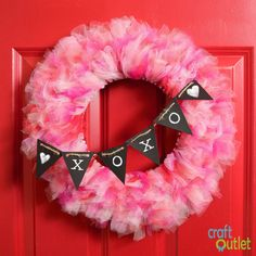 Valentine's Day Tulle Wreath – Craft Outlet / inspiration day wreath tulle Valentine's Day Tulle Wreath – Craft Outlet / inspiration Tulle Crafts, Wreath Crafts, Diy Wreath, Wreath Ideas, Wreath Making, Tule Wreath, Diy Crafts, Diy Valentines Day Wreath, Valentines Day Decorations