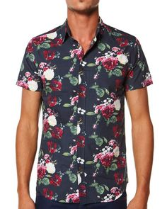 SURFSTITCH - MENS - SHIRTS - SHORT SLEEVE - ASSEMBLY ROSES SS SHIRT - WASHED BLACK