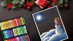 How To Draw Snowman Scenery At Night Oil Pastel Easy Drawing Chris Oil Pastel Cards Diy Easy Christmas Art