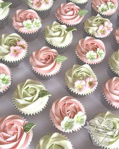 100 of these #buttercream #rose swirl and blossoms #cupcakes in delicate shades of pink and mint green | ChicChicFindings.etsy.com