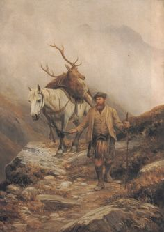 Deer Stalking by Charles Edward Johnson Hunting Painting, Hunting Art, Deer Stalking, Highland Pony, Celtic Art, Old Paintings, Mountain Man, Scottie Dog, Old Master