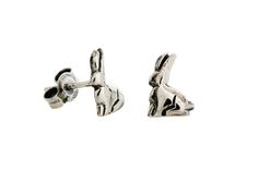 Silver Riverine Rabbit stud earrings (side profile)