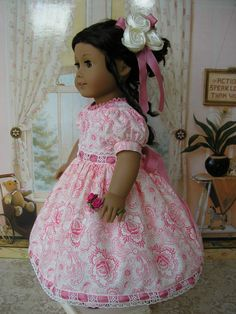 American Girl doll mid1800s or present day rose pink by dolltimes, $84.00