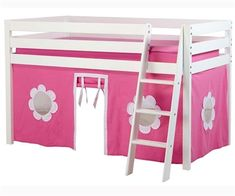 MIX Castello White low loft beds with curtains playhouse castle beds with tent kids furniture