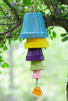 Turn old terracotta pots into an adorable DIY wind chime.