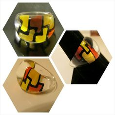 Vintage 1960's  lucite mod ring with yellow, black  and orange geometric size 5.5 for sale by LAVINTAGEVILLAIN! On Etsy  and Online!