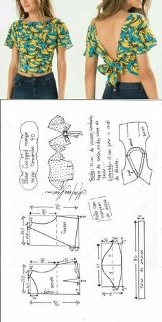 Upcycle Ropa Costura Diy Up … – IDEAS DE UPCYCLING - Das ist meine Nachbarschaft Blouse Patterns, Clothing Patterns, Sewing Patterns, Blouse Sewing Pattern, Crop Top Pattern, Sew Pattern, Cropped Plus Size, Cropped Top, Diy Fashion