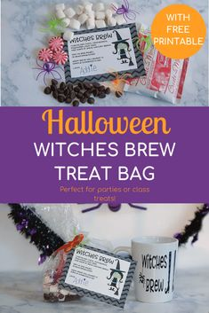 Looking for the perfect Halloween treat for a class party? Or just something different to hand out at Halloween? Check out this adorable witches brew treat bag with a free printable! Halloween Treats, Halloween Decorations, Halloween Fun, Halloween Books, Halloween Projects, Best Blogs, Mom Blogs, Thing 1, Trunk Or Treat