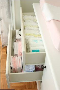 Baby Girl Nursery Decorating Ideas, fruitful home journallol. Didn't even think I could put her diapers in a drawer. score!!!