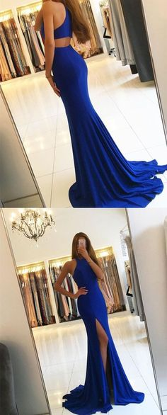 2018 royal blue evening dress,royal blue prom dress,mermaid evening gowns,long bridesmaid dresses,halter long dress,side silt sexy prom dress