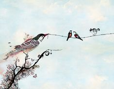Hey, I found this really awesome Etsy listing at https://www.etsy.com/listing/159993693/birds-art-birds-on-a-wire-pen-and-ink