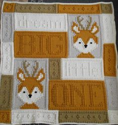 Oh deer, it's a baby blanket. An original design that requires only three crochet stitches - chain stitch, single crochet and the popcorn stitch. Crochet Puntada Bobble, Bobble Stitch Crochet Blanket, Crochet Chain Stitch, Baby Boy Crochet Blanket, Crochet Fox, Crochet For Boys, Baby Afghans, Crochet Blanket Patterns, Crochet Stitches