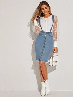 To find out about the Button Front Raw Hem Pinafore Denim Skirt at SHEIN, part of our latest Denim Skirts ready to shop online today! Frock Fashion, Fashion News, Fashion Outfits, Denim Skirt Outfits, Denim Outfit, Urban Fashion Trends, Sweatshirt Dress, Denim Fabric, Mesh Dress