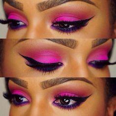Neon Pink Eyeshadow. Pink and Purple Eyeshadow. Eye Make Up. Cateye. Eyebrows. Purple Eyeliner