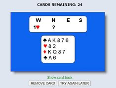 Bridge Bidding Flash Cards Play Bridge, American Standard, Try Again, Trials, How To Remove, Learning, Cards, Free, Maps