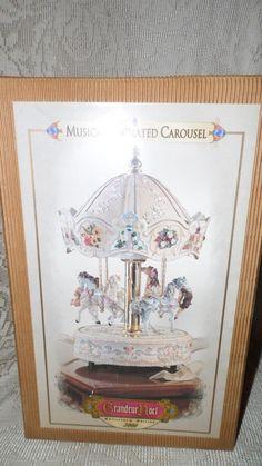 "MUSICAL ANIMATED CAROUSEL W/HORSES FLORAL DESIGN GRANDEUR ""THE CAROUSEL WALTZ"""