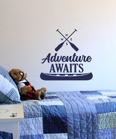Adventure awaits wall decal, hiking camping canoe, north south east west, adventure wall decal, forest woodland, boys room adventure decor