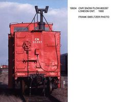 CNR Snow Plow #55397 from the rear at London Ont. 1990 Great Lakes assigned 1991