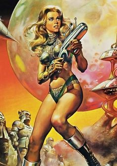 Barbarella movie poster art by Boris Vallejo Boris Vallejo, Heroine Marvel, Arte Do Pulp Fiction, Art Pulp, Comic Art, Arte Alien, Templer, Classic Sci Fi, Space Girl