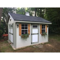 W x 12 ft. D Wood Storage Shed Love shutters and planter box. Doing this to my shed in spring. Shed House Design Ideas, Shed Design, House Ideas, Wood Storage Sheds, Storage Shed Plans, Tool Storage, Diy Storage, Outdoor Storage, What Is A Conservatory