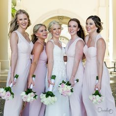 Happy bridesmaids at Dreams Los Cabos. Pink dresses are my favorite