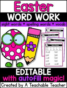 Editable Easter word work makes perfect Easter Activities! Diverse and differentiated, these Easter worksheets can be used for editable Easter spelling word activities, editable Easter sight word activities, and editable Easter word work! Best of all, since these are completely editable, you can use the editable Easter activities for ANY word list! Kindergarten worksheets first grade vocabulary sight word worksheets Spelling Word Activities, Sight Word Spelling, Teaching Sight Words, Sight Word Worksheets, Teaching Phonics, Phonics Activities, Easter Activities, Teaching Writing, Teaching English