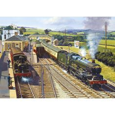 Working Together 2 x Jigsaws. All is busy on the Great Western as these two country stations see the comings and goings of the holiday specials. Train Posters, Railway Posters, Train Pictures, Cool Pictures, Uk Rail, Steam Railway, Train Art, British Rail, Old Trains