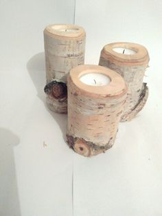 candle holder set of 3 Birch Branches, Candle Holder Set, Rustic Decor, Candles, Wood, Handmade Gifts, Etsy, Awesome, Kid Craft Gifts