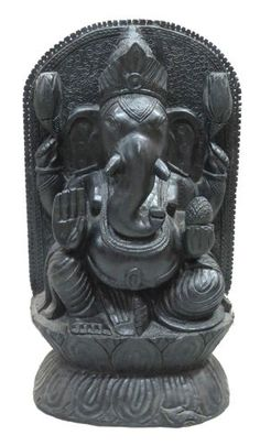 LARGE SIZE 64 CMS STATUE OF WOODEN BLACK LORD GANESHA MEANT TO BE LUCKY