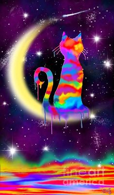Cat Painting - Painted Moon Cat by Nick Gustafson I Love Cats, Cool Cats, Ciel Pastel, Fine Art Amerika, Cat Posters, Illustration Art, Illustrations, Arte Pop, Moon Art
