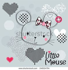 cute mouse head with hearts vector illustration
