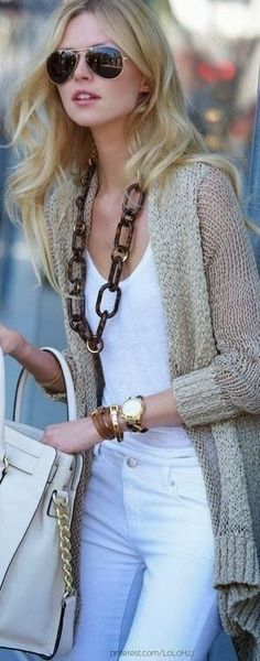 Soft Colors. White Shirt and Pants. Jacket with Hand Bag and Necklace