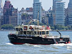 U.S. Army Corps of Engineers survey vessel the Moritz on the Hudson River viewed from Hoboken, New Jersey. August 3, 2015.