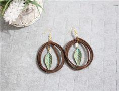 100-Handmade-Vintage-Bohemian-Leather-Bronze-Leaf-Drop-Earrings-US-Seller